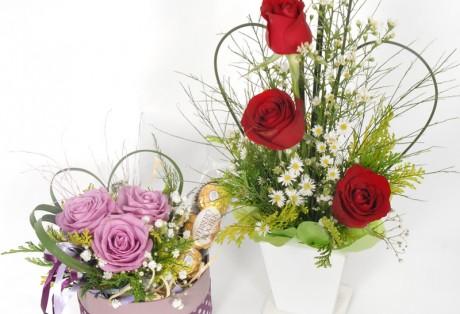 Arranjos c/ 3 rosas